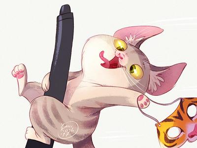 Crazy Kitten illustration crazy raster character design character cat kitten