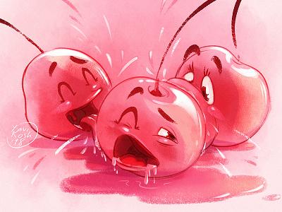 Cherry monster sketch illustration food cherry raster character design character monster