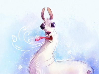 Lama and snowflake animals raster lama animal character design character