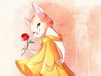 Belle as a cat illustration princess kitten cat raster character design character