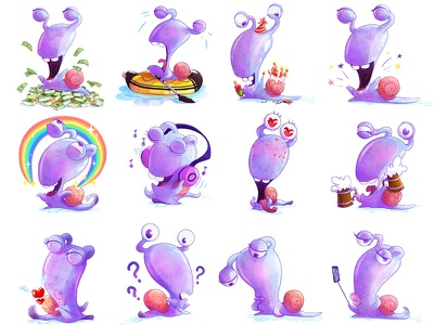 Snail Joe snail sticker design sticker set sticker sticker pack characters character design character
