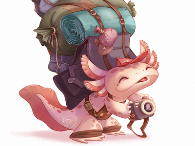 Axolotl 2d character 2d art cg art raster cdc axolotl characterdesign character