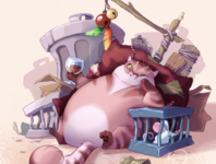 Fat Cat cg animal illustration cat character design character raster