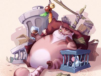 Fat Cat cg animal illustration cat character design character raster
