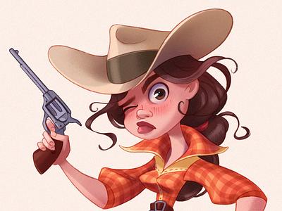 Cowgirl digitalart cgart cg characters cartoon character design character raster