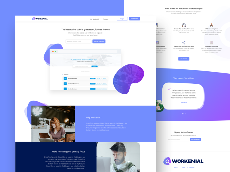 Workenial Dribbble product design gradient ui ux uxui