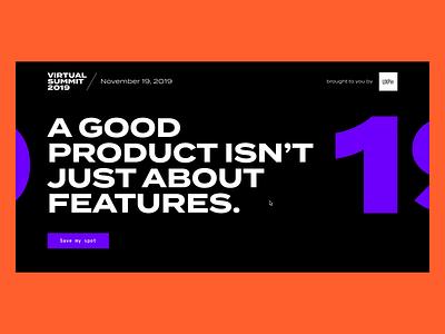Virtual Summit 2019 Landing Page landing page website design website web typography branding uxpin