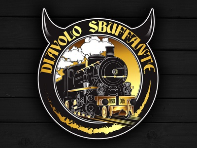 Diavolo Sbuffante Logo logo pub beer train vector