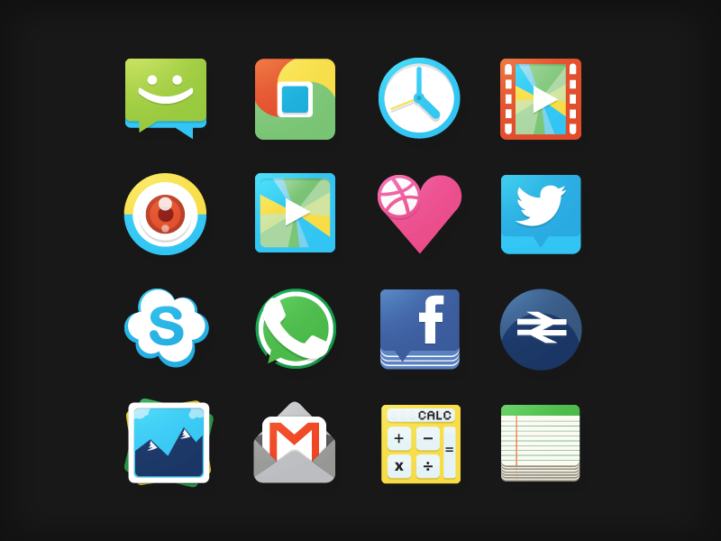 Flat Icons chat chrome clock video camera music dribbble twitter skype whapsapp facebook nationalrail gallery gmail calc notes