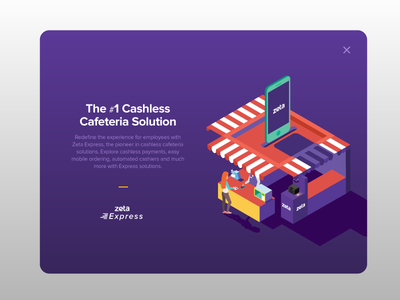Zeta Express card design isometric express tax savings cafeteria cashless zeta