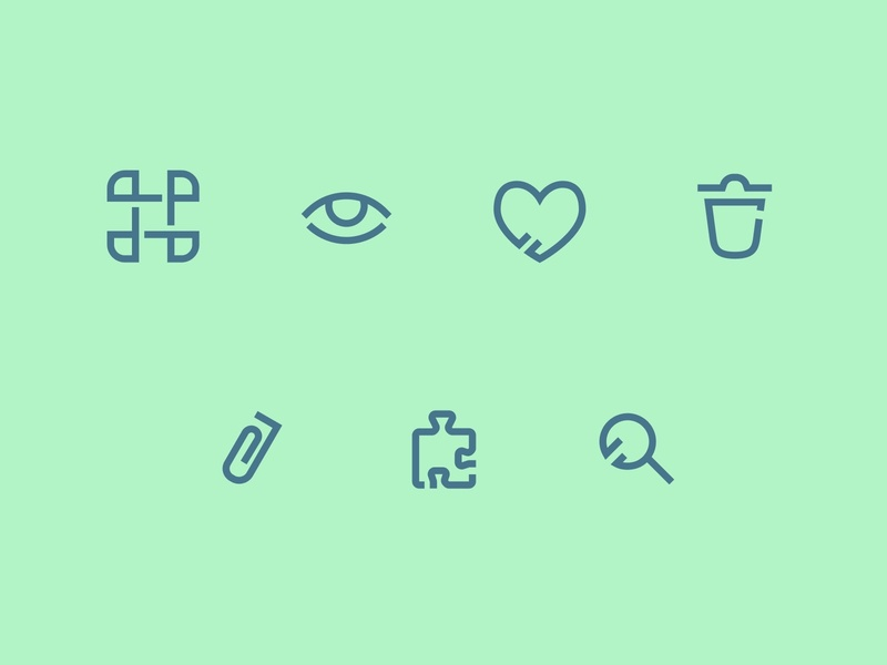 Icon Set WIP clip eye command attachment find trash search puzzle love figma outline iconography