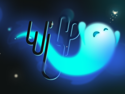 Inktober 2020 #2 - Wisp illustration fairy dark glow in the dark blue glow letter font figma vector wisp spirit ghost character inktober2020 inktober