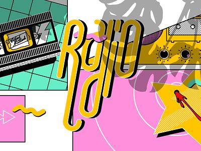 Inktober 2020 #4 - Radio shadow figma texture watchmen star killed radio video miami vice green yellow pink inktober2020 inktober