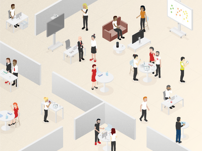 OutSystems Office Characters scalable language visual lowcode technology office characters outsystems infographic illustration isometric