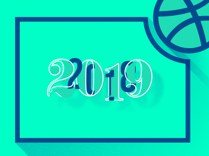 Happy New Year - Last shot of my 2018 dribbble blue green composition numbers typography new year eve new year happy 2019 2018