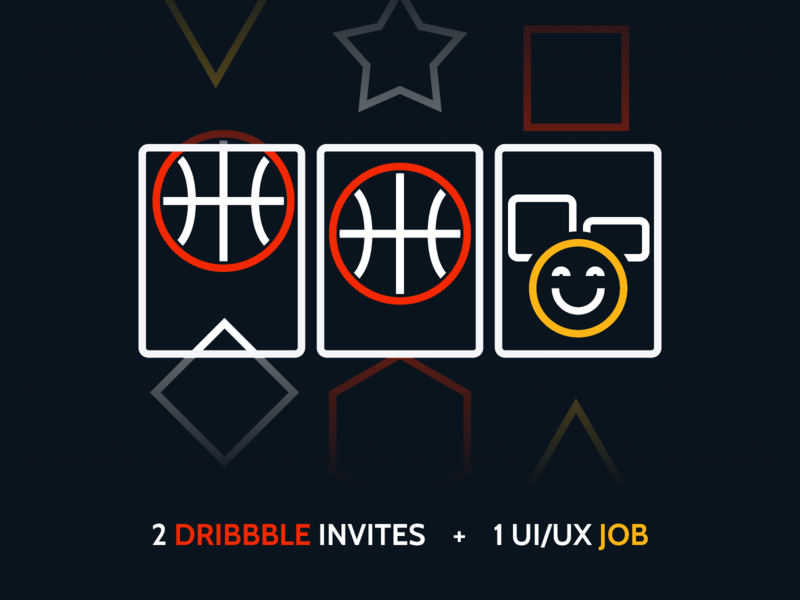 2 Dribble Invite + 1 UI/UX job Opportunity low-code line icon thick yellow red white icon slot work outsystems dribbble invites uidesign web ux ui job