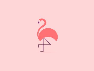 Lone Flamingo bird tropical flamingo illustration