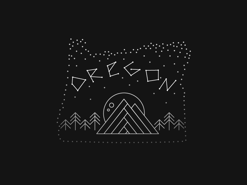 Stars over Oregon constellation illustration stars mountains oregon