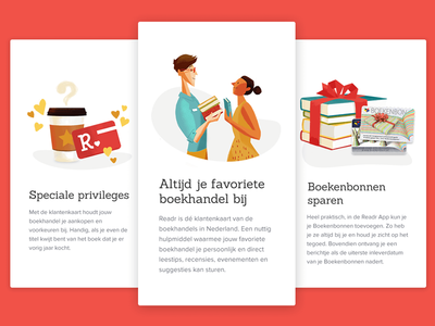 Readr onboarding illustrations coffee people red cute illustration mobile books app