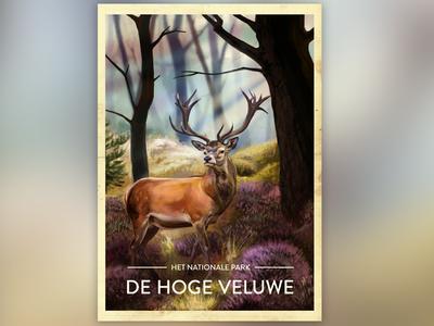 Netherlands National Parks photoshop painting print poster illustration national park deer veluwe