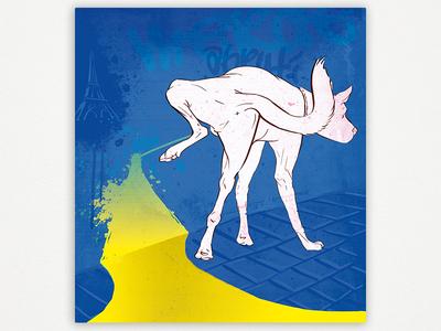 Nom d'un chien illustration pun swear french crude peeing animal dog