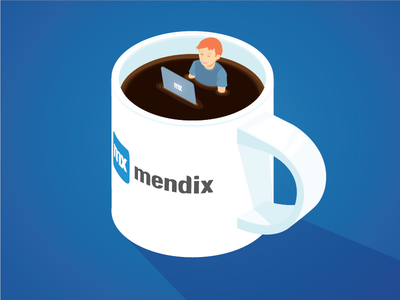 Take a break from code - Illustration developer coffee mendix mug illustration isometric