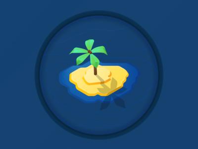 404 illustration - Uncharted Territory isometric tree palm tropical island atlas notfound error web illustration 404