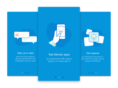 Onboarding screens for our new release of the Mendix App mendix app ui ux login flow intro slides illustration onboarding