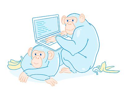 Web Modeler Maintenance Page unexpected error bananas laptop illustration monkeys apes mendix web modeler maintenance 404