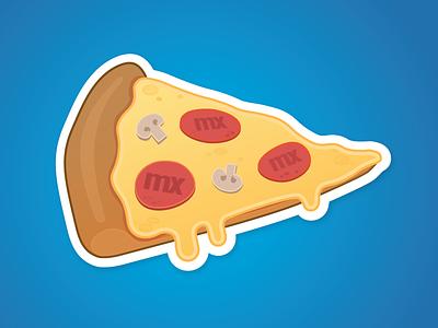 Cheesy Mendix Pizza Sticker marketing yummy mushrooms food pizza illustration sticker