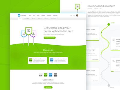 Mendix Academy classroom landing page learning tech web design website education