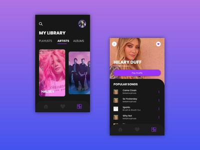 Music App uxdesign ux uidesign ui music player music application music app design music app ui music app music mobile app design application mobile app app ui mobile app design dark app dark appdesign app