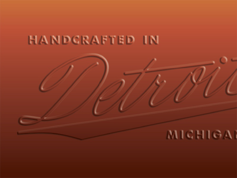 Handcrafted in Detroit script glass lockup logo detroit whiskey whisky