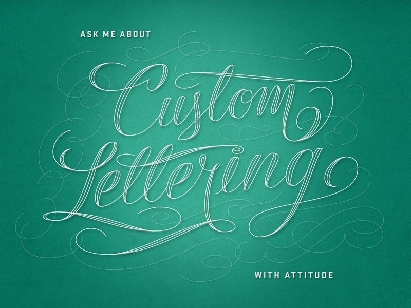 Custom Lettering filigree spencerian custom script flourish typography lettering