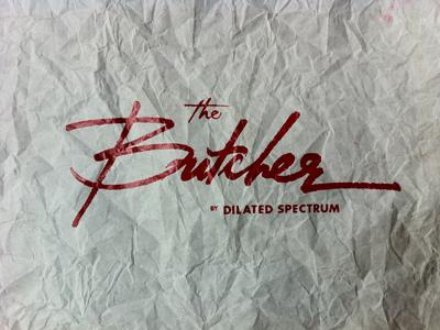 """The Butcher"" script v2.0 screen print script type logo red"