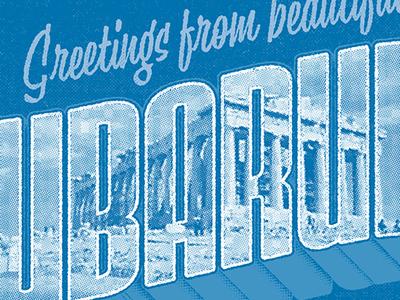 CUBARUBA greece postcard travel typography drop shadow greetings
