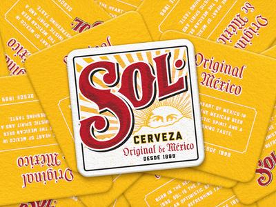 SOL Coasters logo lettering typography packaging branding cerveza beer