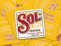SOL Coasters logo lettering typography packaging branding cerveza beer