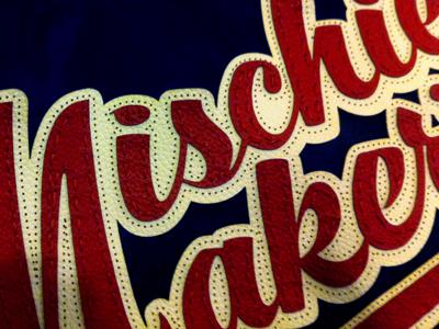 Hand Stitching, in progress script typography embroidery baseball mischief brush