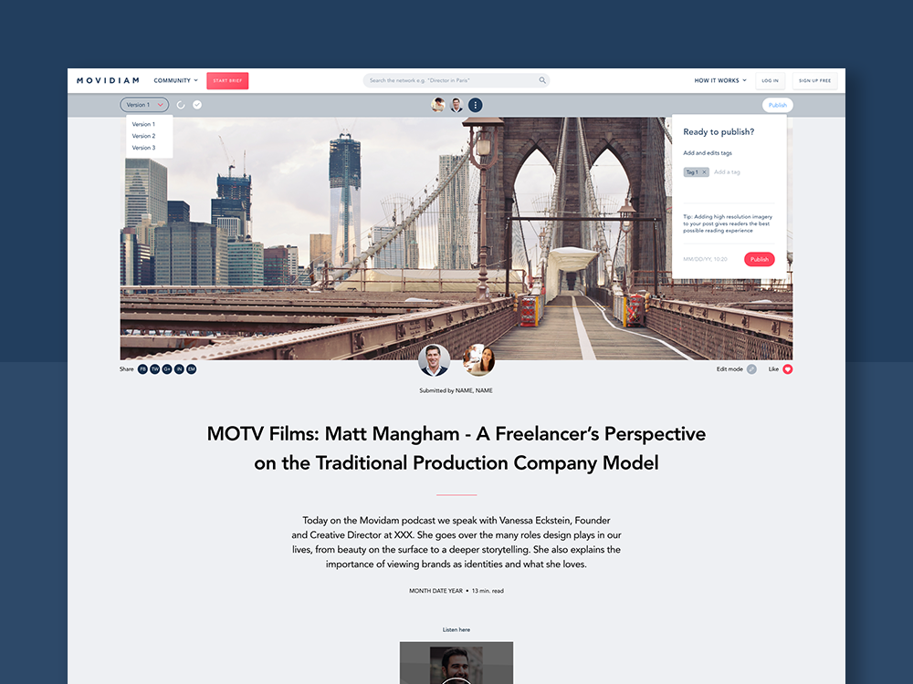 Movidiam Blog Redesign debut publish tags ux edit modal dropdown website ui user interface typography redesign blog