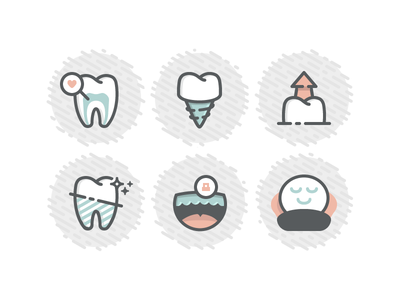 Dental icons - redux gentle night guard whitening extraction implant root canal tooth teeth monoline flat dentist dental