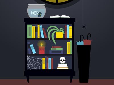 Halloween Bookcase illustration vector art spooky halloween