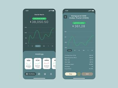 Investing Mobile Application sobrio elegant ux mobile money investment investing invest ui design sober