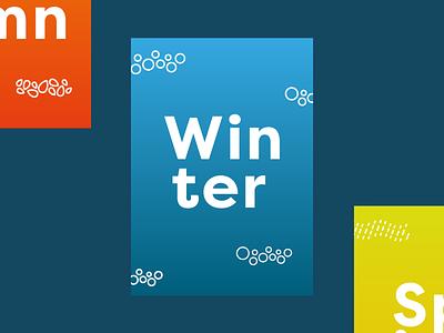 Winter minimalism colourful blue snow winter poster typography illustration gradient vector minimal design
