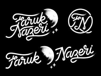 Faruk Q Nazeri graphics lowpro logo handmade lettering type blackwork noise grain moon branding identity