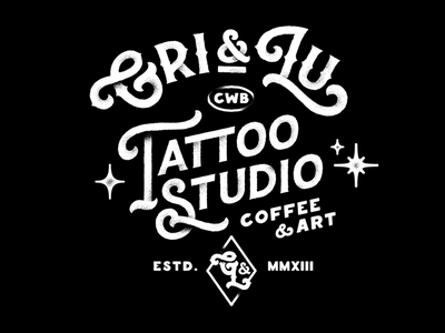 Promotional Type work for Gri&Lu grain sparkle chalk paint sign studio tattoo identity graphic calligraphy lettering type