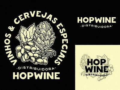 Hopwine • Heavy Presentation wine hop beer branding logo classic beverage identity graphic bold