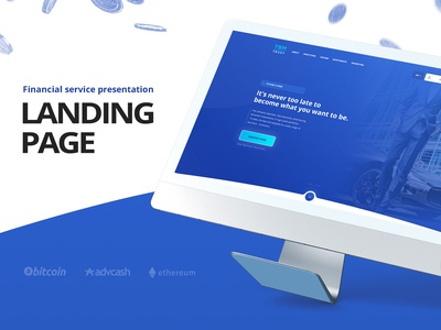 Landing page for investment service presentation