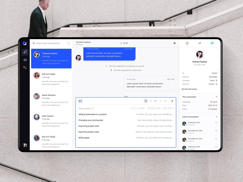 Customer Service Inbox crm ui dashboard customer service sketch autocomplete channel saved replies conversation messenger inbox