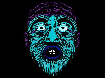 Acid african-american face mask acid line human man head face black design art afro